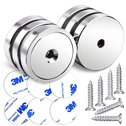 LOVIMAG Neodymium Cup Magnets,110LBS Holding Force Strong Rare Earth Magnets with Heavy Duty Countersunk Hole and Double Sided Adhensive&Stainless Screws for Refrigerator Magnets,Office etc,Pack of 6