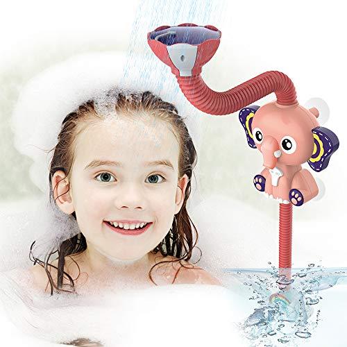 EARSOON Baby-Badespielzeug, Duschkopf – Elektrischer Elefant, verstellbarer Duschkopf, Badewanne, Sprinkler, Wasser-Spielzeug für Babys, 12 + Monate