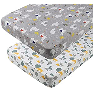 Pack n Play Playard Fitted Sheets 2 Pack Set 100% Jersey Knit Cotton Soft Breathable Portable Mini Crib Mattress Cover for Baby Boy Girl, Llamas and Deers Pattern, White and Grey