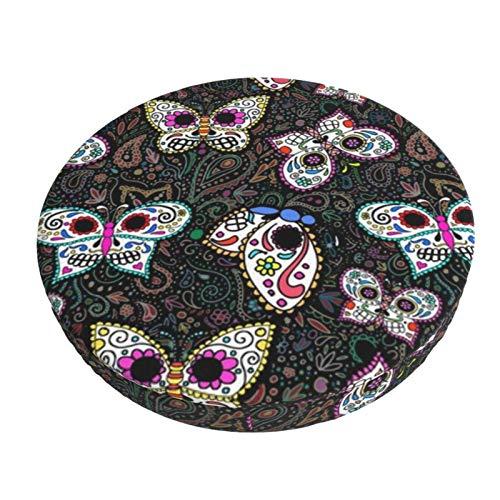 Funda de Asiento para Silla Calaveras Locas Mariposas! Mariposas de Calavera de azúcar Material Ploiéster Duradero Fundas Decorativas para sillas de Comedor 13in