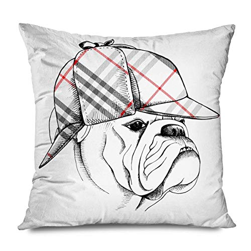 iksrgfvb Throw Pillow Cover 45x45CM Holmes Bulldog Old Checkered Deerstalker Pet Hat Animals Wildlife Crime Man Accessory Ag