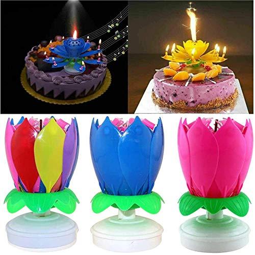 3pcs Rotating Lotus Cạndlê - Double Layers Opening Lotus Musical Happy Birthday Cạndlês, Romantic Flower Light Cake Cạndlês Decorations