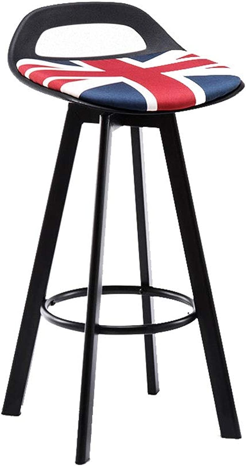 A+ Iron Dining Chair, Solid Steel Bars, Bar High Stool Non-Slip Mat Black Long Leg PU Leather Cloth Seat - 4 colors-41cmX84cm (color   Multi-colord)