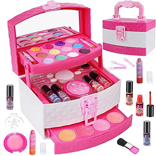 Tacobear Lavable Maquillaje Set para Niñas Juguete de Maquillaje Lavable con Maletin Maquillaje Cosmética Princesa Juguete Cumpleaños Regalo Navidad para Niña 3 4 5 6 7 8 9 años