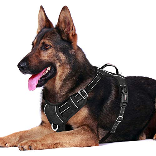 BARKBAY Hundegeschirr, kein Ziehen, mit Clip vorne, strapazierfähig, reflektierend, leicht zu kontrollierender Griff für große Hunde mit ID-Tagentasche (schwarz, XL)