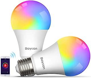 LED Smart Bulb, Baytion 10W Smart WiFi Light Bulb 2-Pack Work with Alexa,Echo,Google Home and Siri, No Hub Required,E27 Mu...