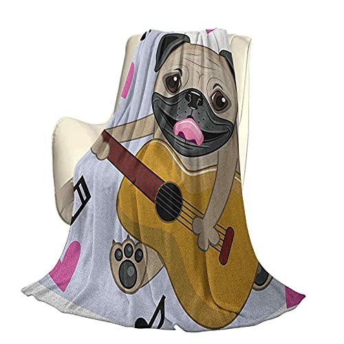 Pug - Colcha Moderna y Elegante para Todas Las Estaciones, futón, Perro Pug, Tocando la Guitarra, Cantando con Lindos Corazones Rosados, Divertidos Dibujos Animados de Animales, Cuatro estac