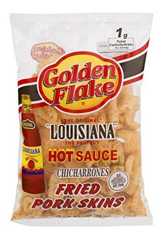 Golden Flake Louisiana Hot Sauce Pork Skins 3.25 Ounce (Pack of 4)