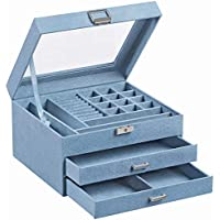 Songmics 3-Tier ewelry Organizer and Case with Clear Glass Lid