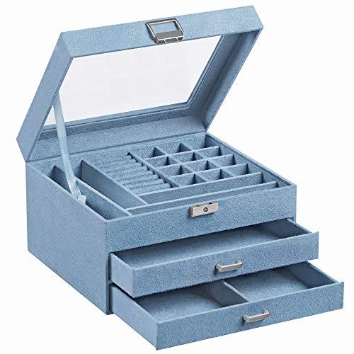 SONGMICS Caja de Joyas, Joyero de Terciopelo de 3 Pisos, con Tapa de Vidrio Transparente, Compartimentos Variables para Collares, Pulseras, Anillos, Cerraduras y Llaves, Azul Claro JBC158Q01
