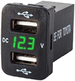 zmart TOYOTA車用 緑 5V 2.1A 2口 USBポート ダッシュボード 電圧計 ディスプレイ スマホ スマートフォン iphone android 充電器 アダプター シガーライター