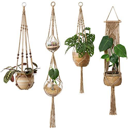 Mkono Macrame Plant Hangers 4 Pcs Indoor Outdoor Hanging Planter Basket Jute...