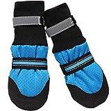 Dog Shoes Pfotenschutz Hundeschuhe Hundestiefel Anti-Rutsch Atmungsaktiv Pet Shoes für Mittlel und Große Hunde Blau Rot