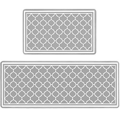 Pauwer Lot de 2 Tapis de Cuisine PVC épais Antidérapants Imperméable Tapis de Sol de Cuisine Facile à Nettoyer Anti-Fatigue Confort Tapis de Sol