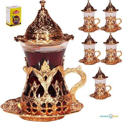 Turc Arabe Thé Café Designer Verre Serving Set tasses d/'argent 12
