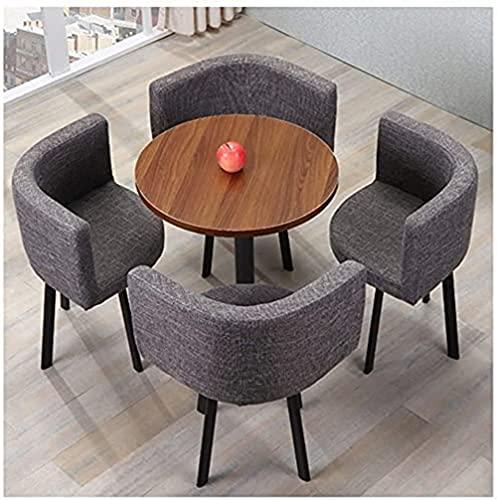 XKun Home - Juego de mesa y silla/mesa redonda de 60 cm, juego de mesa y silla (color: marrón)