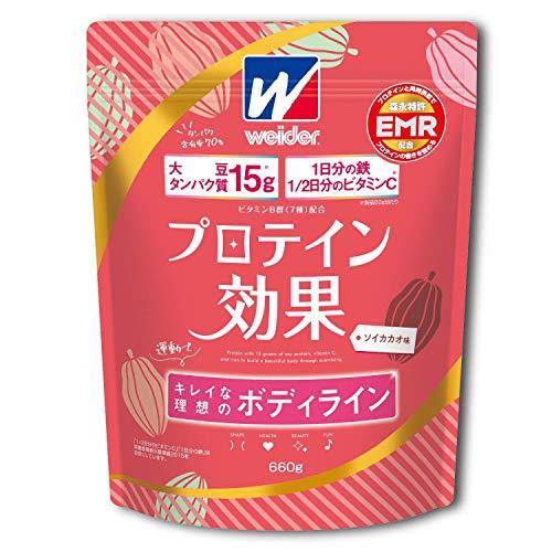 ウイダープロテイン効果ソイカカオ味660g(約30回分)ソイプロテインボディメイク用プロテイン鉄分ビタミンC特許成分EMR配合
