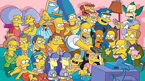 Los Simpsons,1000 Piezas para Niños Puzzle,Challenge Puzzles para Adultos Y Niños Educativo para Niños para Regalo De Acción De Gracias De Navidad.A389M(75X50CM)