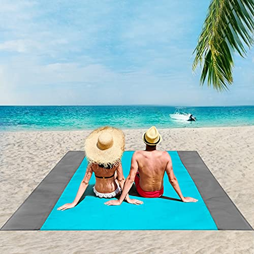 ISOPHO Beach Blanket, 95''×108'' Picnic Blanket Waterproof Sandproof for 4-7 Adults, Oversized Lightweight Beach Mat, Portable Picnic Mat, Sand Proof Mat for Travel, Camping, Hiking, Packable Bag
