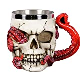 Skull Mug Parasite Octopus Beer Coffee Mugs with Tentacle Handle, Stainless Steel and Resin Tankard Skeleton Cranium Skull Beverage Drinking Cup for Ossuary Macabre Halloween Decorative Accent - 13oz