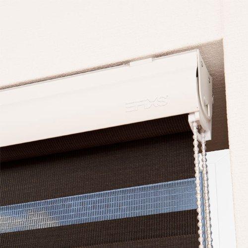 EFIXS Doppelrollo mit weißer Aluminiumkassette ~ Farbe: Schwarzbraun ~ Größe: 140x175cm ~ ab 43,50 EUR ~ weitere Größen wählbar