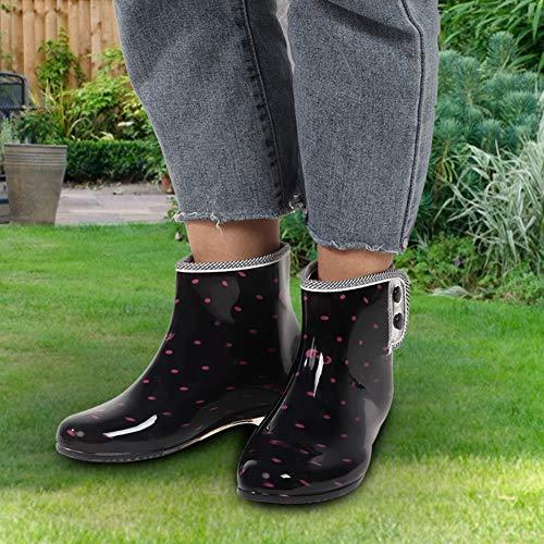 JULYKAI Regenstiefel, wasserdichte rutschfeste Stiefeletten, bequem für die Arbeit im Garten Frauenreisen(40 Yards)