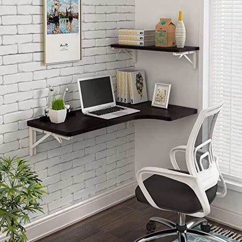 QZH Mesa Plegable de Montaje en Pared, Mesa de Comedor con Hoja abatible, Escritorio para computadora portátil, estación de Trabajo (5 Colores, 4 tamaños) (Negro, 80 * 40 cm)