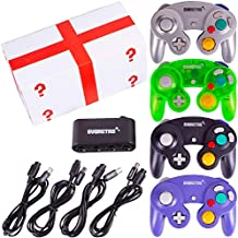 4 Pack Gamecube Controller Bundle - with 4 Extension Cords and a 4-Port Adapter for/Switch/PC by EVORETRO
