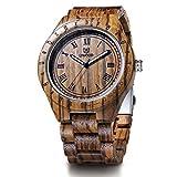LeeEv Luxury Brand Wooden Watches, UWOOD Series Zebra Sandal Wooden Mens Quartz Watches Fashion Natural Roman Numeral Wood Watch