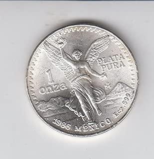 1986 Mexico Mexican 1 Onza Silver Libertad 1 OZ. Coin Libertad Choice Uncirculated