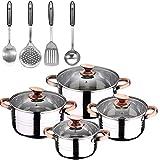 Bateria de cocina 8 piezas apta para induccion SAN IGNACIO Altea en acero inoxidable con set de 4 utensilios de cocina en acero inoxidable