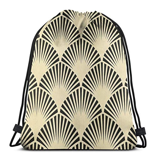 Sac à dos Art déco noir beige rustique vintage motif éventail élégant chic sac à bandoulière sac à dos de voyage sac de gym sac à cordon sac à dos léger pour voyage, gym, yoga, rangement cadeau
