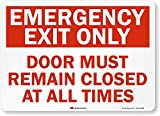 'Emergency Exit Only - Door Must Remain Closed at All Times' Label by SmartSign | 14' x 10' 3M Reflective Laminated Vinyl
