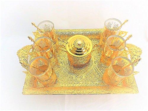 Tea Set, Turkish Ottoman 16 Pcs. Gold or Silver Plated set - طقم كاسات 16 قطعة ، شاي تركي عثماني مذهب أو فضة