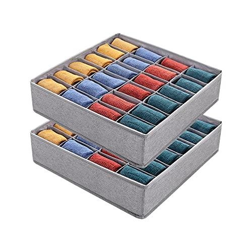 DIMJ 2 Stück Aufbewahrungsboxen für Socken, Faltbare Kleiderschrank Organizer, 24 Zellen Schubladen Organizer, Schrank Ordnungssystem für Socken, Unterwäsche, Krawatte, Seidenschal, Taschentuch
