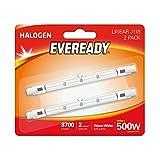 Eveready–Bombilla halógena lineal de 400W (500W equivalente) luz bombilla, 2unidades, R7s, 500W