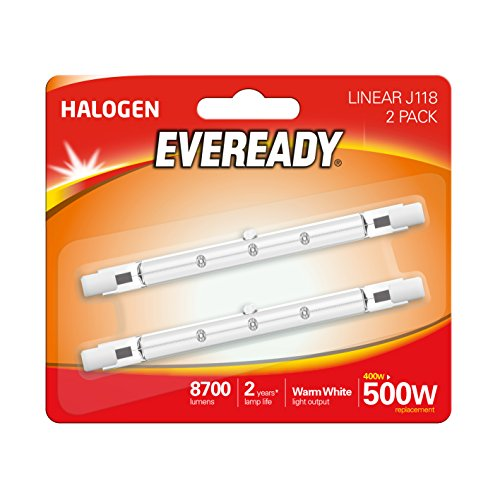 Eveready–Lampadina alogena 400W (W equivalente) lampadina lineare, confezione da 2, R7s, 500W