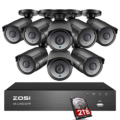 ZOSI Ultra HD 4K Home Security Camera System Outdoor Indoor, H.265+ 8 Channel CCTV DVR with 8 x 4K (8MP) Surveillance Bullet Camera Weatherproof, 150ft Night Vision, 2TB Hard Drive, Remote Access