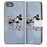 Tasche kompatibel mit Apple iPhone 7 Leder Flip Case Ledertasche Disney Mickey Mouse Micky Maus