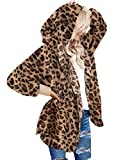 LookbookStore Women's Long Sleeve Leopard Printed Open Front Fleece Cardigan Coat Oversized Winter Warm Fuzzy Outerwear Pocket Lightweight Sherpa Jacket Coats Brown Size X-Large