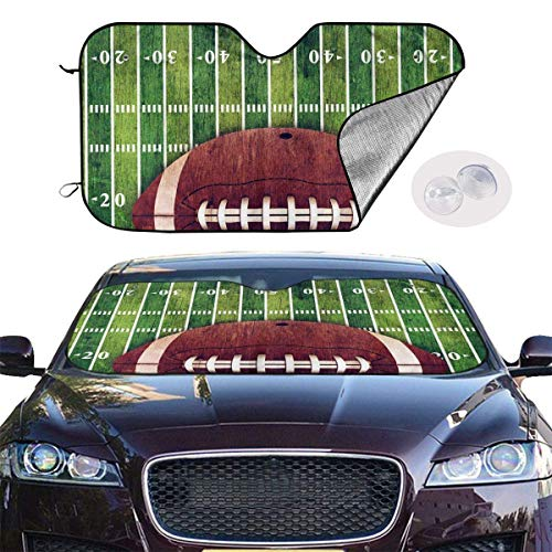 ghkfgkfgk Car Windshield Sun Shade SUV Trucks Vehicle Minivan UV Ray Heat Reflector Visor Protector Front Window Sunshade-American Football Field Ball Polyester