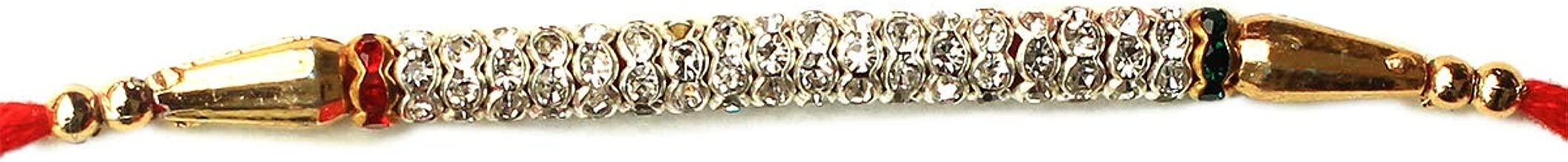 Rakhi for Brother - Bhabhi Bhaiya Raksha Bandhan Designer and Traditional Bracelet with Faux Diamond and Silver Glass Beads Thread/Band - Simple and Best Rakhi