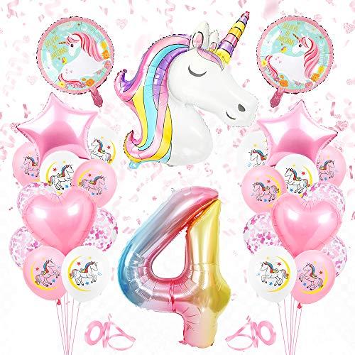Globos Numeros Gigantes Unicornio 4, Decoración de Cumpleaños 4 en Rosado, Decoracion Unicornio, Globos de Cumpleãnos Unicornio 4,Globo Numero Unicornio 4, para Niñas
