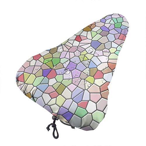 GOSMAO Funda de cojín para Bicicleta Bicicleta de montaña Textura de Mosaico Impermeable Confort Silicona Suave Asiento de Bicicleta Ciclismo al Aire Libre