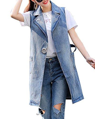 Guiran Damenweste Denim Jeansjacke Weste Lang Jeansweste Outwear Ärmellos Denim Jacke Blau