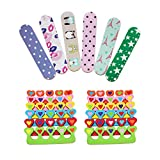 ZMOI 6 Pieces Colorful Girly Mini Emery Nail Files + 6 Pairs Heart Design Toe Separators Manicure/Pedicure Kit