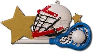 Personalized Lacrosse Helmet Christmas Tree Ornament 2019 - White Ball Stick Crosse Glove Stars Athlete Sport Coach Hobby Active School Catcher Shooter Profession Boy Girl Year - Free Customization