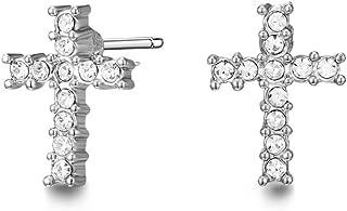 Mestige Brass Silver Cross Earrings - MSER3846