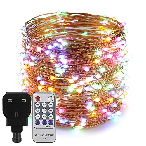 Erchen Plug in Fairy Lights, 100 FT 30M 300 LED Dimmable Copper Wire LED Starry String Lights with 12V DC Power Adapter Remote Control for Wedding Christmas Party Bedroom (Multicolor)