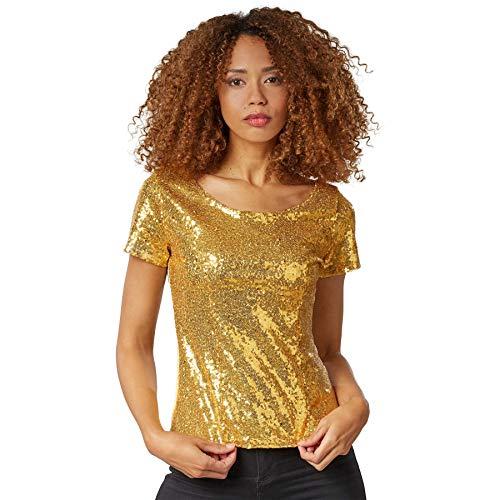 dressforfun 901013 Damen Pailletten Top, Glitzer Kurzarm Oberteil, Gold - Diverse Größen - (XL   Nr. 303709)
